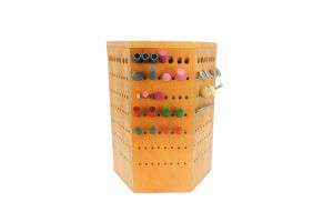 349 Hole Light Wood Hexagonal Shaped Burr and Small Tool Caddy. M9275